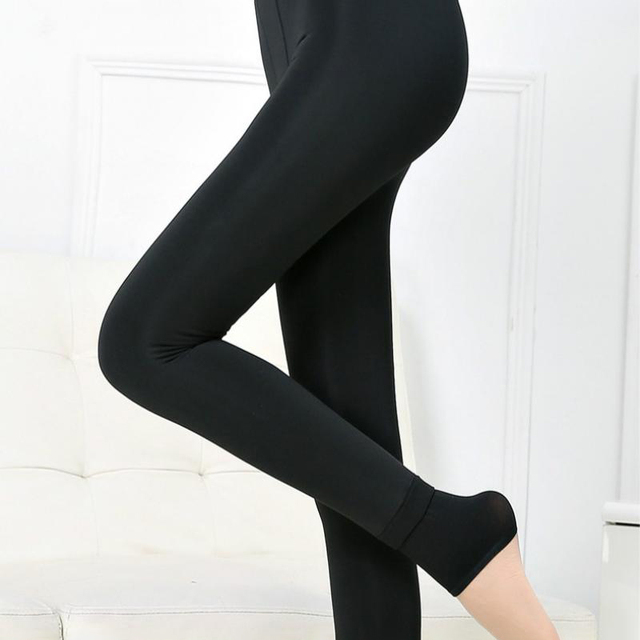 SALSPOR S-3XL Solid Color Women Winter Velet Trousers Female High Elastic Warm Nine pants Ladies Sexy High Waist Slim Leggins 2
