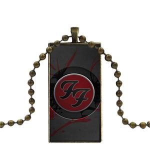 For Kids Beads Foo Fighter Vintage Jewelry Bronze Color Glass Cabochon Choker Pendant Long Rectangle Necklace