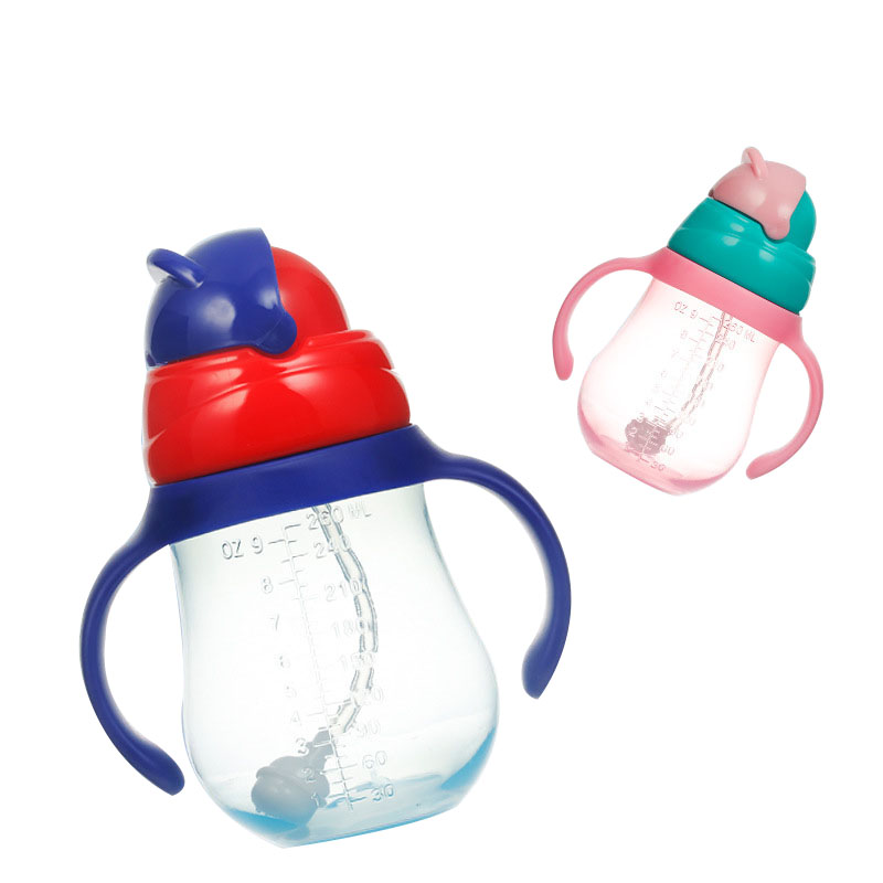 260ml Baby Cup Cute Children Learn Drinking Water Straw Handle Bottle Training Drink School Food Milk Bottles