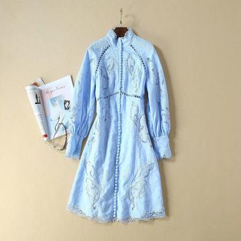 European and American women's clothing 2019 winter new style The lantern sleeve Long sleeve hollow out embroidery  blue dress