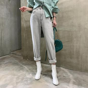 Light Grey vintage denim pants spring High Waist Slim Wild New Streetwear Woman Casual Straight Pants jeans r871 Straight Jeans