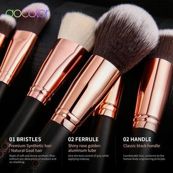 Docolor Classic Makeup Brushes Set Professional Natural Hair Make up brush with bag Eye Shadow Foundation Powder brush 2
