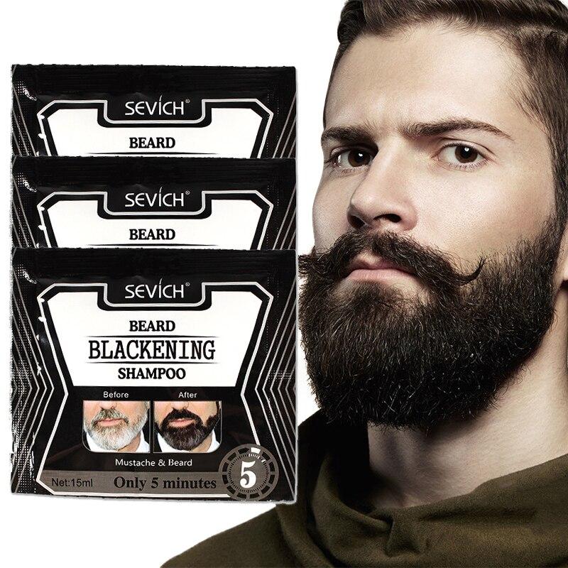5 шт. травы натуральный быстрее чернением борода шампунь краситель борода кидаем вас в черный 15 мл TSLM1