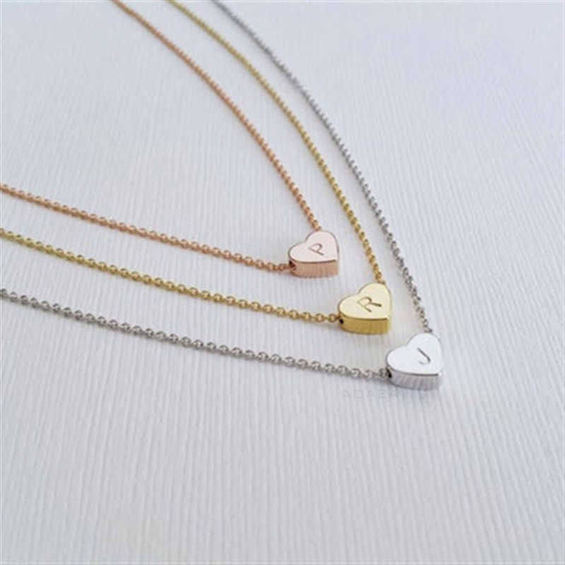 Initial  Necklace  Stainless steel heart-shaped 26 letter necklace  Girl Gift Flower Girl Necklace  for Mom Baby Girl