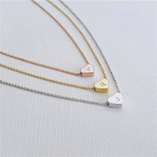 Initial  Necklace Stainless steel heart-shaped 26 letter necklace Girl Gift Flower for Mom Baby