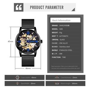 Image 5 - SKMEI Reloj de pulsera automático para hombre, creativo, mecánico, con esfera DE ARTE hueca, correa de acero sin cadena, 9199