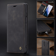 CaseMe New Retro Business Magnetic Wallet Leather+TPU Anti-fall Phone Case For OnePlus 7 Pro Flip Card Cover