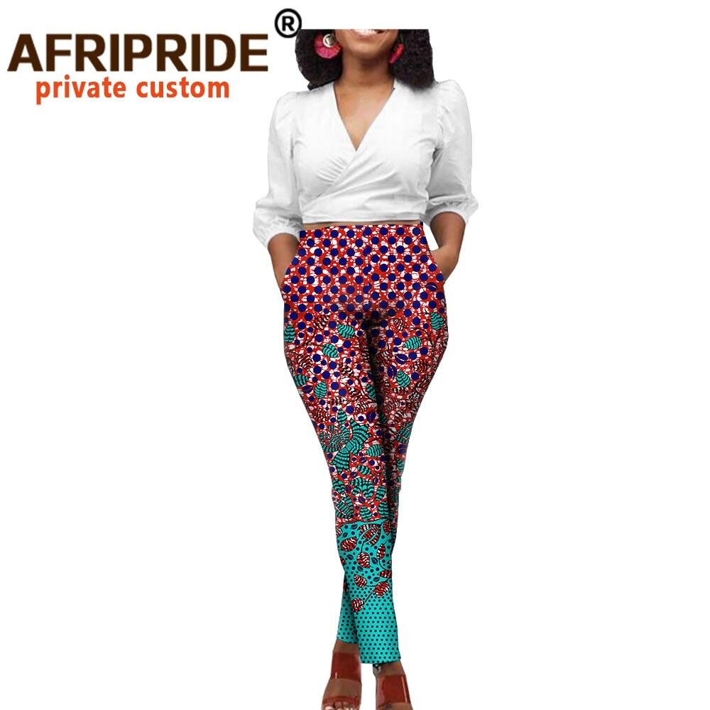 Африканская одежда для женщин Белый Топ и штаны с принтом комплект