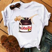 Maycaur Nutella T Shirt 90s Harajuku Ullzang Fashion Kawaii Print Women T-shirt Graphic Cute Cartoon