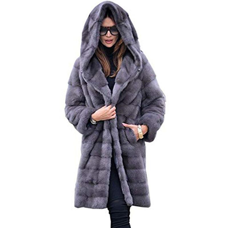 Winter New Long Fur Coat Women Solid Color Loose Plush Hooded Coat Imitation Fur Jacket High Quality Warm Teddy Coat Female L62