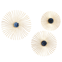 3 Pcs/set American Stereo Wall Luxury Wrought Copper Sun Flower Crafts Decor Wall Ornament Wall Hanging Mural Accessories R2733