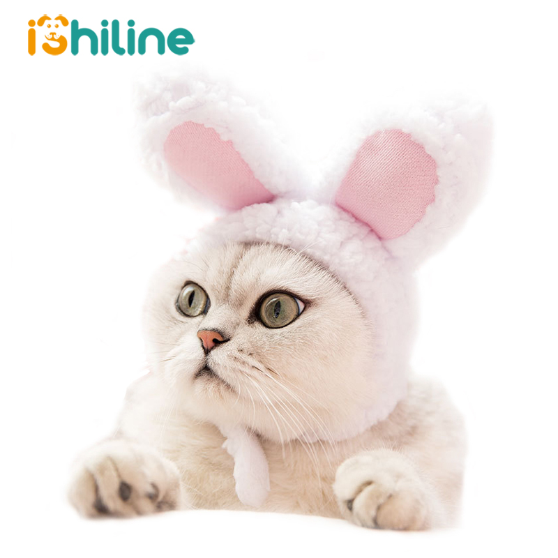 Funny Pet Dog Cat Cap Costume Warm Rabbit Hat New Year Party Christmas Cosplay Accessories Photo Props Headwear title=
