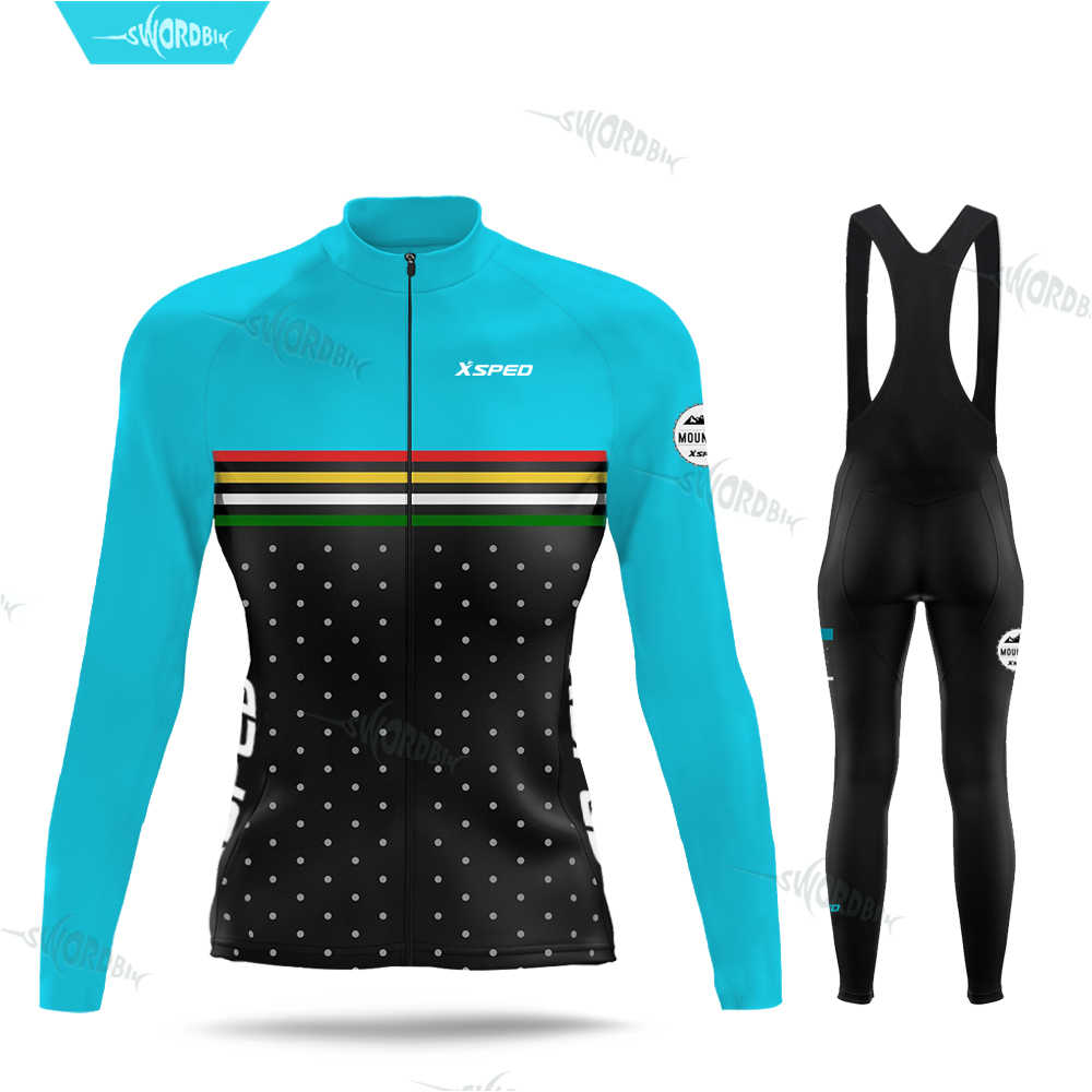 Women Pro Team Long Sleeve Cycle Jersey Sets Lady Cycling Clothing MTB Clothes Triathlon Breathable UV Spring Autumn Cycle Set