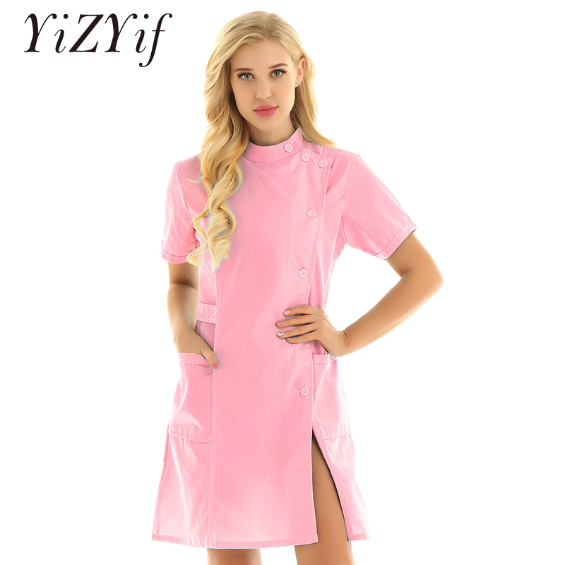 Hospital Nurse Dress Costume Women Short Sleeves Doctor Uniform Scrub Tops Medical Services Nurse Scrub Lab Coat Nurse Dress