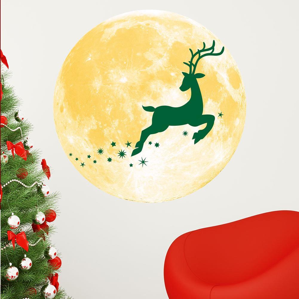 Christmas Luminous Wall Sticker Fluorescent Moon Fawn Pine Tree Snowman Waterproof 30CM Home Decoration