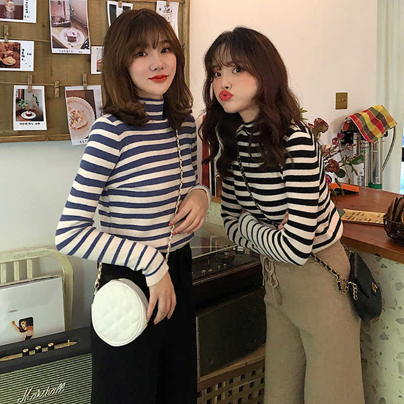 Frauen Pullover Herbst Winter Mode Warme Jumper Striped Gestrickte Pullover Weibliche Casual Langarm Top Koreanischen Stil Top Pullover