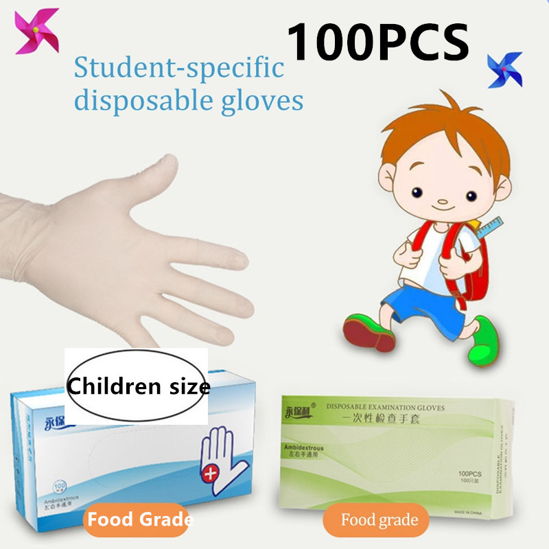 Children Disposable Nitrile Gloves 100PCS Kids Food Grade Safety Gloves School White Latex Protective Hand Cover Mittens Protect