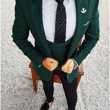 Men Wedding Suits 2020 Elegant 3 Pieces Wedding Dress Dark Green Smoking Tuxedo Jacket Terno Slim Groom Suits For Men