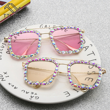 TTLIFE 2020 Oversized Square Sunglasses Ocean Lens Rhineston