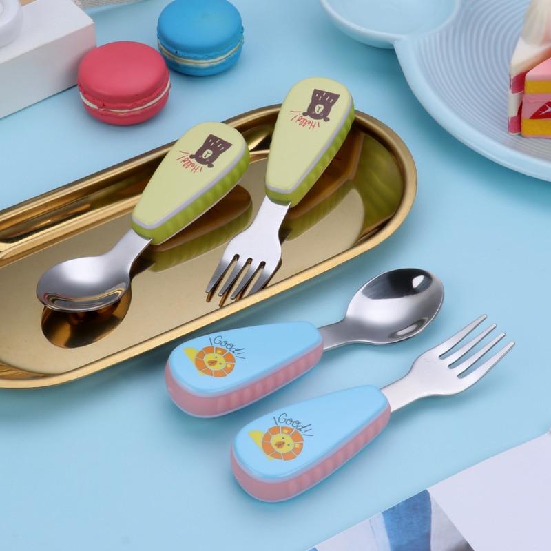 Kids Baby Feeding Fork 2pcs//set Spoon Stainless Steel