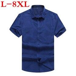Nuevo vestido de talla grande 8XL 7XL 6XL 5XL 4XL nuevo verano estampado de manga corta de Color puro de negocios camisas formales de trabajo para hombres