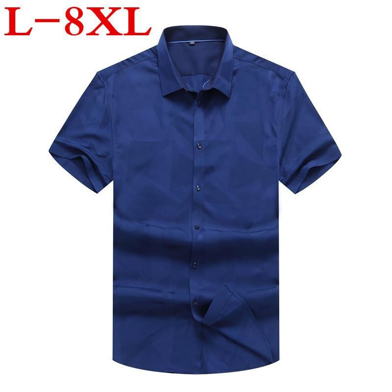 New Plus Size 8XL 7XL 6XL 5XL 4XL New Summer Print Short Sleeve Pure Color Business Dress Shirts Formal Work Shirts Men