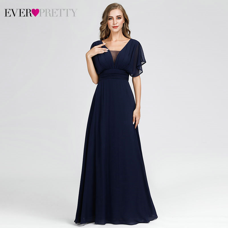 Elegant Evening Dresses For Women Ever Pretty EP07851NB A-Line V-Neck Vintage Special Occasion Dresses Robe De Soiree Femme 2020
