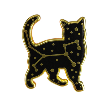 Black Celestial Cat Badge Zodiac Starry Night Enamel Pin Inspired by the now Defunct Felis Constellation Perfect for stargazers image