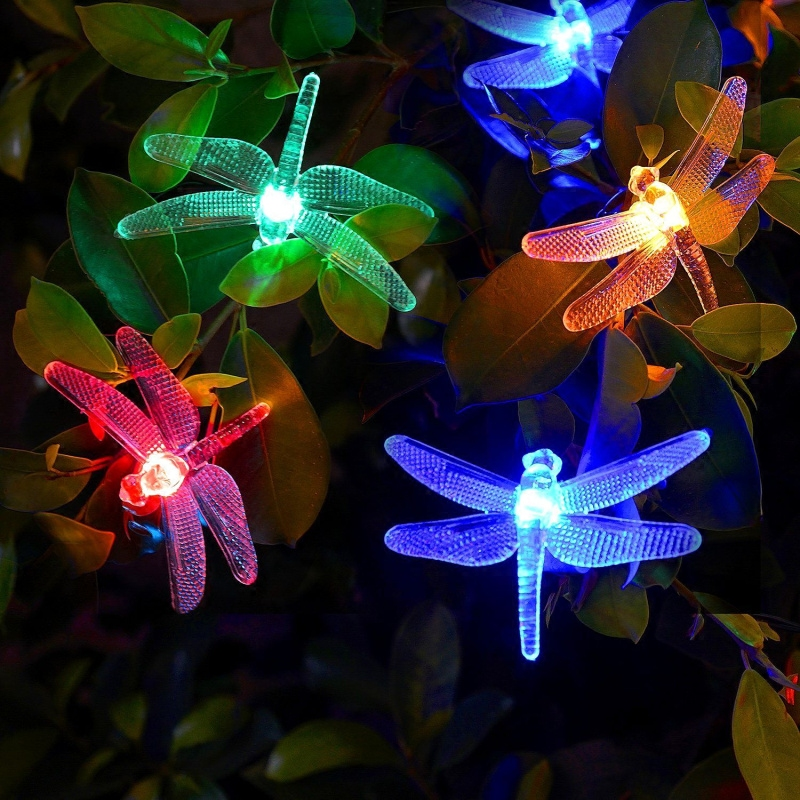 Solar Power LED Dragonfly Lights String Twinkle Outdoor Waterproof Garden Villa Tree Fairy Garland Wedding Party Xmas Decoration