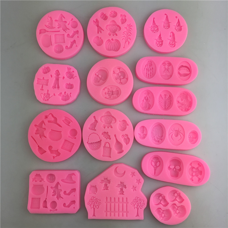 1Pcs Halloween Series Silicone Mold Cake Decorating Tools Pastry Baking Polymer Clay Kitchen Bakeware