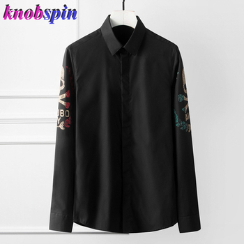 Beading Skull Head Shirt men Long sleeve Slim Casual Chemise homme Solid color Business male Dress shirts Brand quality Camisas фото