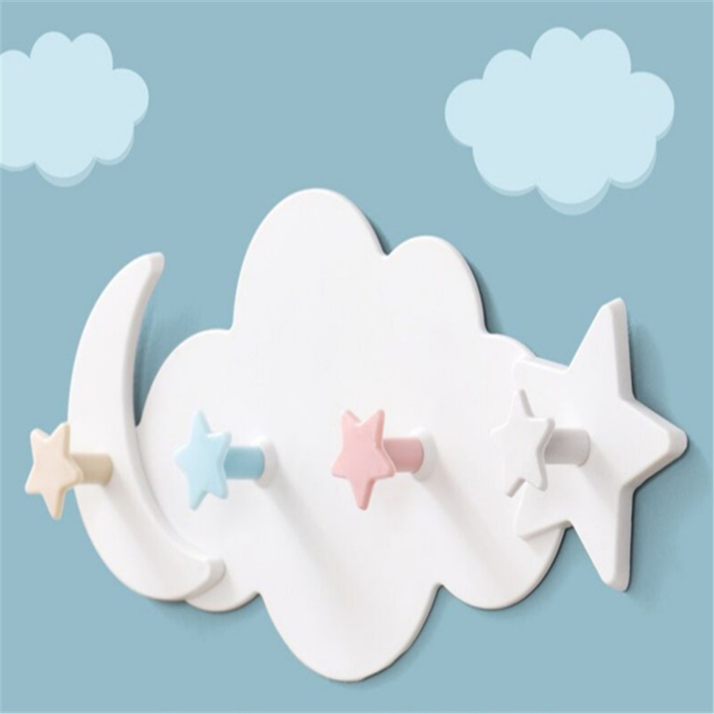 Cute 4 Hooks Strong Adhesive Cloud Hook Kitchen Wall Hanging Creative Nail-free Seamless Rack Hanger Shelves Girls Kid Room