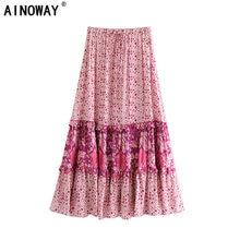 בציר שיק אופנה נשים Hippie ורוד פרחוני הדפסת החוף בוהמי חצאית גבוהה אלסטי מותניים מקסי אונליין Boho חצאית Femme