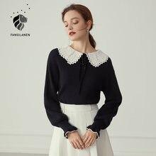 Женский винтажный пуловер fansilanen черный вязаный свитер с