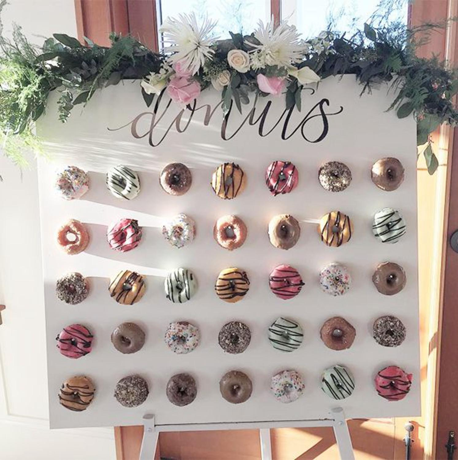 Donut Wall Holds Chocolate Candy Sweet Cart Doughnut Birthday Party Rustic Wedding Decor Wood Wedding Table Decor Baby Shower