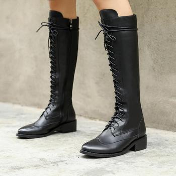 LAIGZEM Super Women High Boots Low Block Heels LEATHER Side Zip Wide Calf Friendly Botas Mujer Shoes Woman Size 33 39 40 41 43