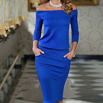 Women Club Bodycon Dress New Style Long Sleeve Slash Neck Sexy Night Club Wear Black Blue Celebrity Party Dresses XL
