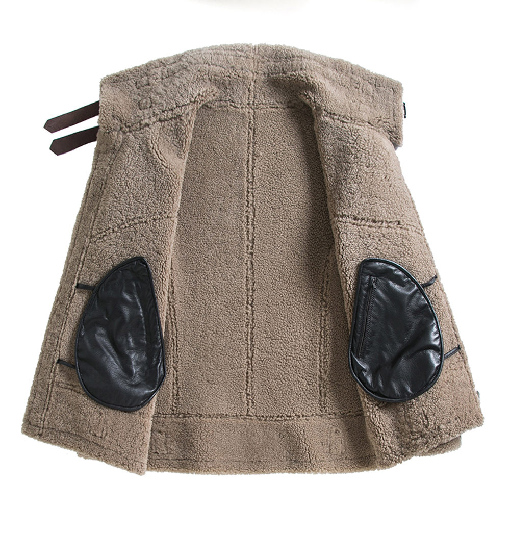 H08db3850fee3438db855af96208373fes 2019 Fashion 100% Quality Real Sheepskin Fur Men Coat Genuine Full Pelt Sheep Shearling Male Winter Jacket Brown Men Fur Outwear