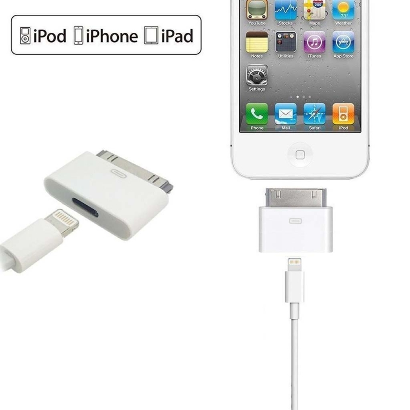 8pin fêmea para 30pin masculino adaptador conversor para iphone4 4S ipad2 3 ipad touch3 4 de alta qualidade branco & preto
