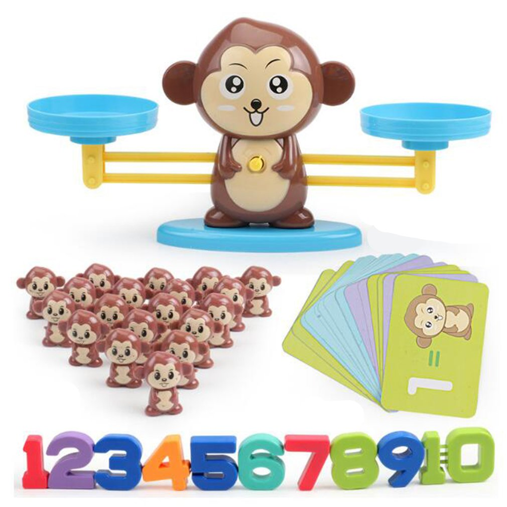 Match game Board game Monkey Match Math Balancing Scale Number Balance Game Children Educational Toy to Learn add and subtract image
