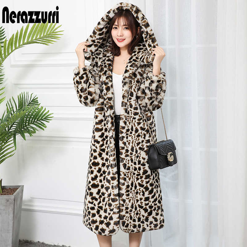 Nerazzurri High quality thick faux fur leopard jacket women with hood leopard print fluffy long fur coat plus size luxury coats