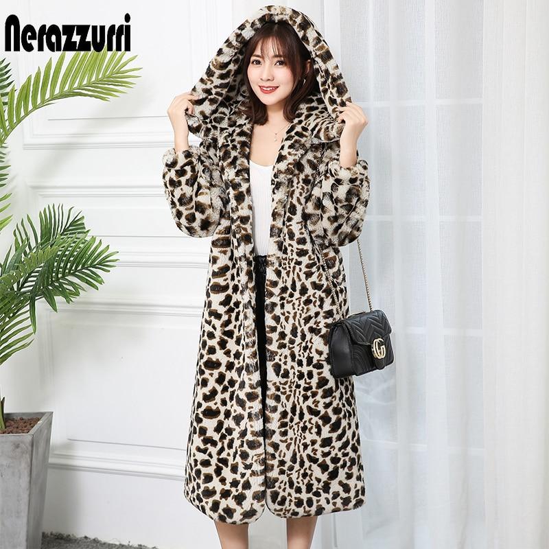 Nerazzurri High Quality Thick Faux Fur Leopard Jacket Women With Hood Leopard Print Fluffy Long Fur Coat Plus Size Luxury Coats