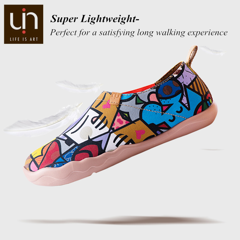 Image 4 - UIN Charming Cat Painted Canvas Women Flats Colorful Art Shoes Ladies Round Toe Slip on Loafers Outdoor Walking Comfort Shoes-in Women's Flats from Shoes