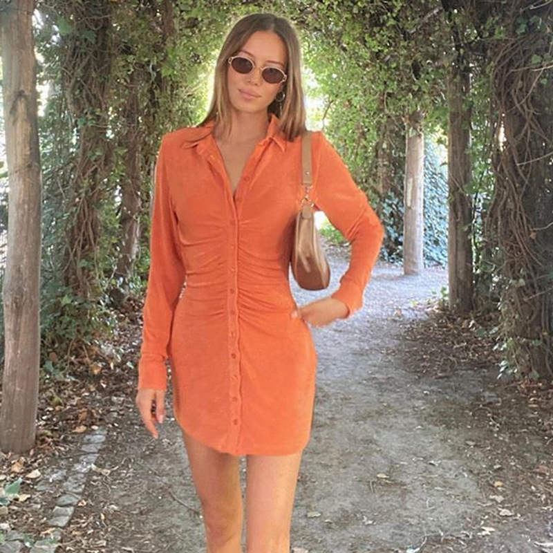 Cryptographic Turn-Down Collar Green Women Shirt Dresses Club Party Long Sleeve Button Mini Dress Holiday 2021 Spring Streetwear 6