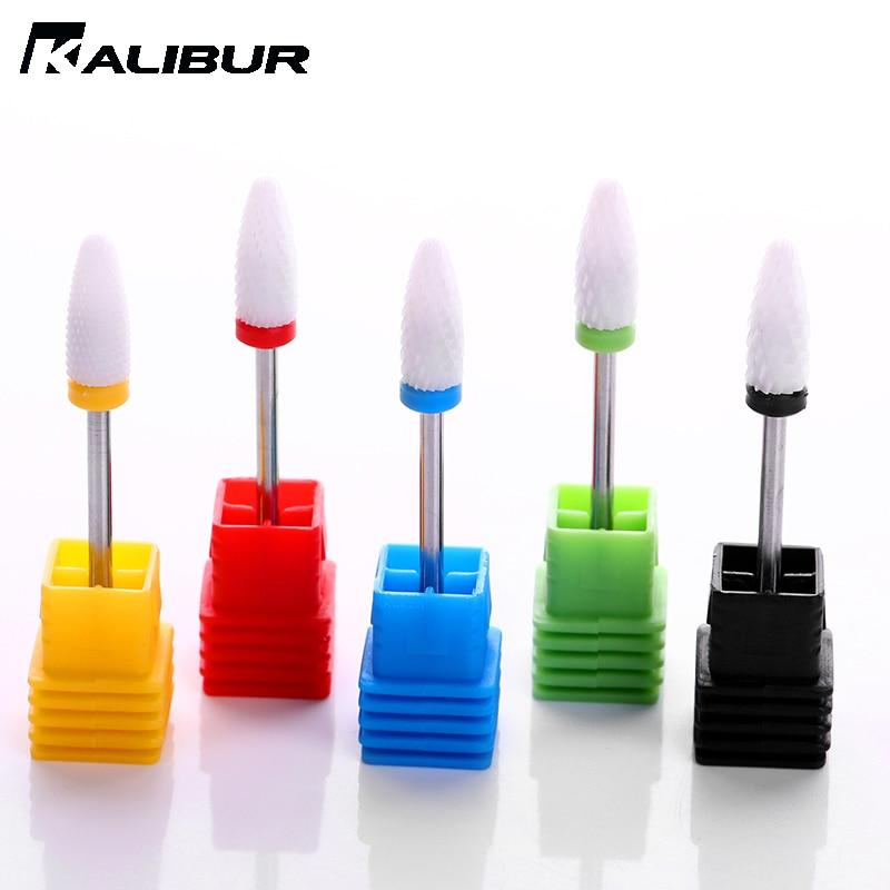 KALIBUR Ceramic Nail Drill Bits Electric Nail Milling Cutter For  Pedicure UV Gel Lamp Nail Art Polish Varnish Remove