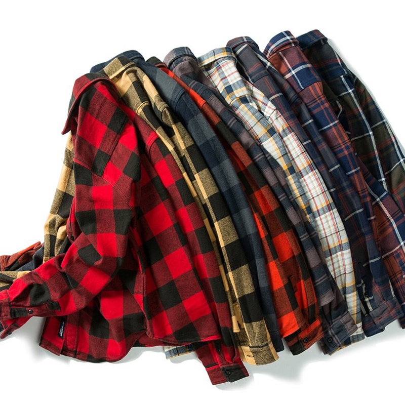 100% cotton heavy weight retro vintage classic red black spring autumn winter long sleeve plaid shirt for men women 3