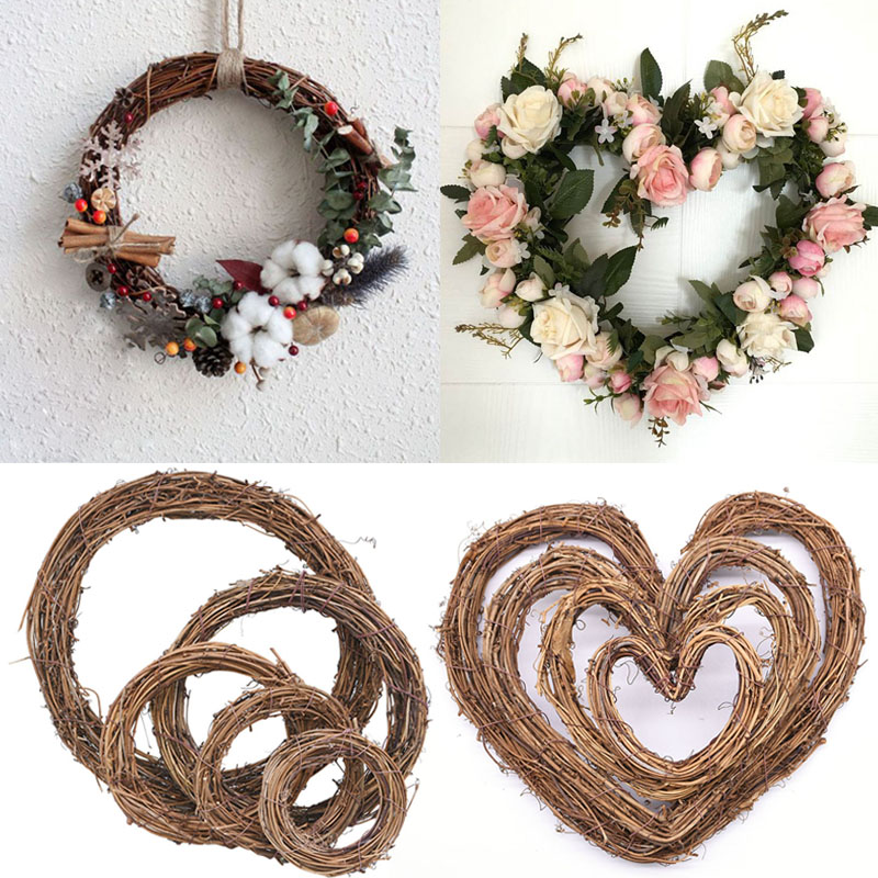 8-30cm Round Love Heart Natural Rattan Wreath Stem Branch Ring Garland For Wedding Birthday Party Decor Supplies Christmas Gift