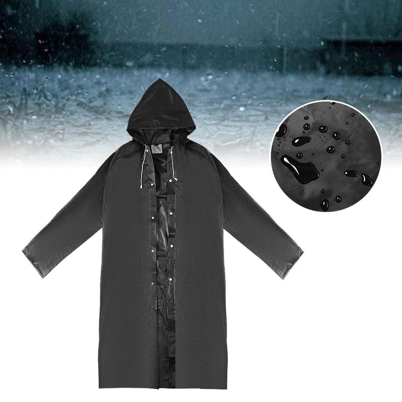 Unisex Adult Outdoor Waterproof Raincoat Black EVA Cloth Long Rain Poncho W// Hat