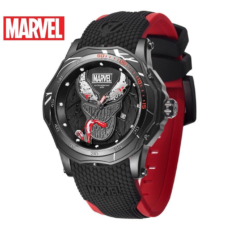 Marvel Avengers venin hommes 5ATM montre étanche acier inoxydable Silicone bande homme Sport horloge à la mode armée Reloj noir Super héros - 2