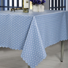 Plastic Tablecloth Waterproof Rectangular Pastoral-Style Household PVC Wave-Side